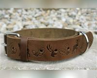 halsband---leder---lederhalsband-alle-hunde---oliv-braun---jagdmotiv---jagd-waldkraiburg